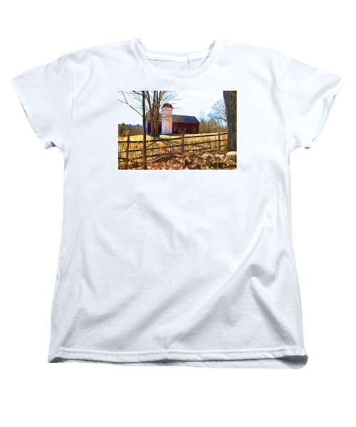 Red Barn And Silo  Women's T-Shirt (Standard Cut) by Betty Pauwels