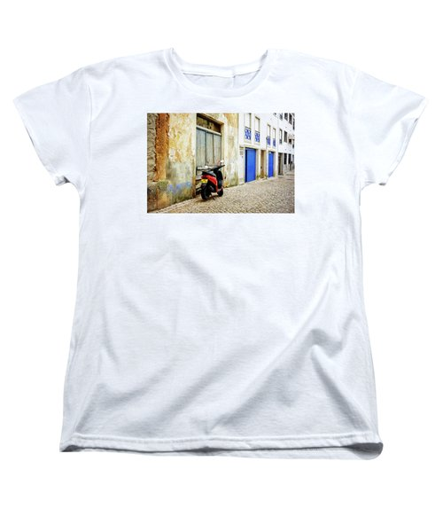 Women's T-Shirt (Standard Cut) featuring the photograph Red Bike by Marion McCristall