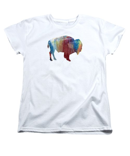 Red Bison Women's T-Shirt (Standard Cut) by Mordax Furittus
