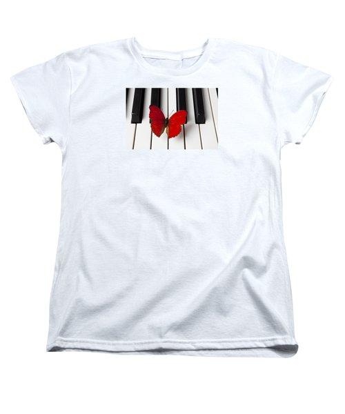 Red Butterfly On Piano Keys Women's T-Shirt (Standard Cut) by Garry Gay