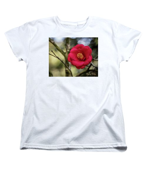 Women's T-Shirt (Standard Cut) featuring the photograph Red Camelia 05 by Gregory Daley  PPSA