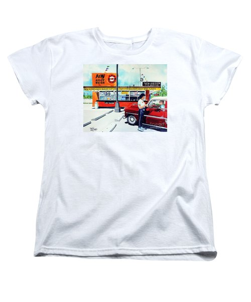 Red Car At The A And W Women's T-Shirt (Standard Cut) by Tom Riggs