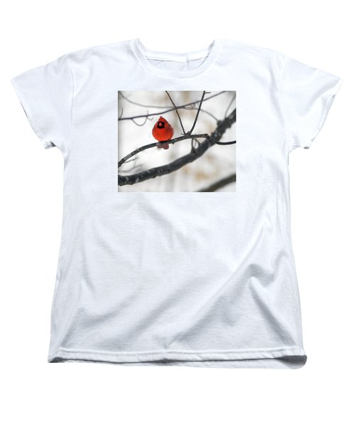 Women's T-Shirt (Standard Cut) featuring the photograph Red Cardinal In Snow by Marie Hicks