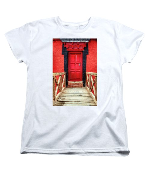 Women's T-Shirt (Standard Cut) featuring the photograph Red Door At A Monastery by Alexey Stiop