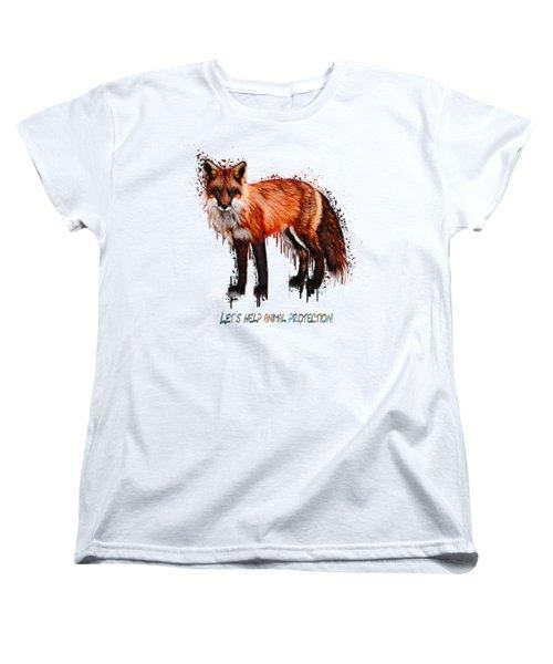 Red Fox In Tears Digital Painting Women's T-Shirt (Standard Cut) by Georgeta Blanaru