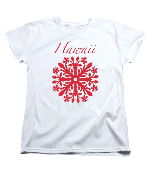 Hawaii Red Hibiscus Quilt Women's T-Shirt (Standard Cut) by James Temple