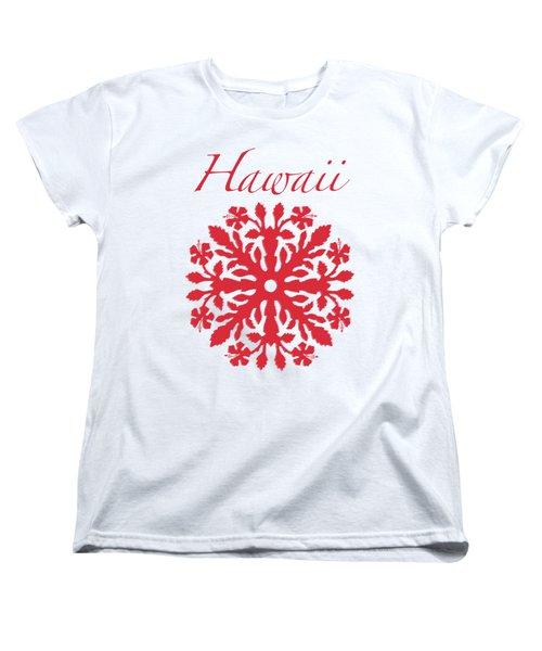 Hawaii Red Hibiscus Quilt Women's T-Shirt (Standard Fit)