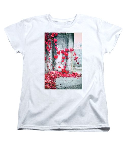 Women's T-Shirt (Standard Cut) featuring the photograph Red Ivy Leaves by Silvia Ganora