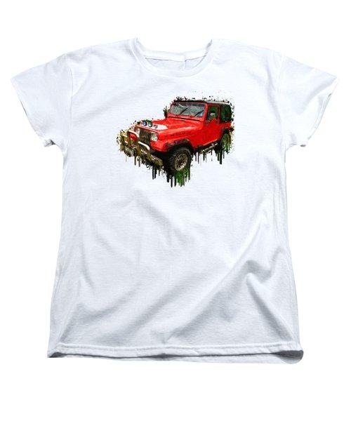 Red Jeep Off Road Acrylic Painting Women's T-Shirt (Standard Cut) by Georgeta Blanaru