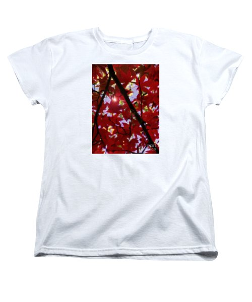 Women's T-Shirt (Standard Cut) featuring the digital art Red Leaves In Light by Haleh Mahbod