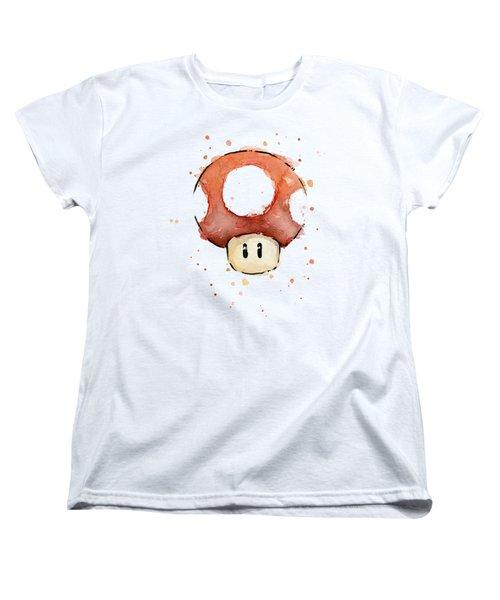 Red Mushroom Watercolor Women's T-Shirt (Standard Cut) by Olga Shvartsur