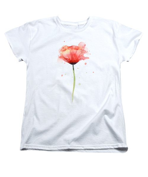 Red Poppy Watercolor Women's T-Shirt (Standard Fit)