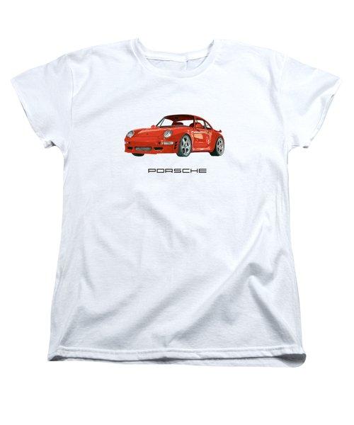 Red Porsche 993 1997 Twin Turbo R Women's T-Shirt (Standard Cut) by Jack Pumphrey