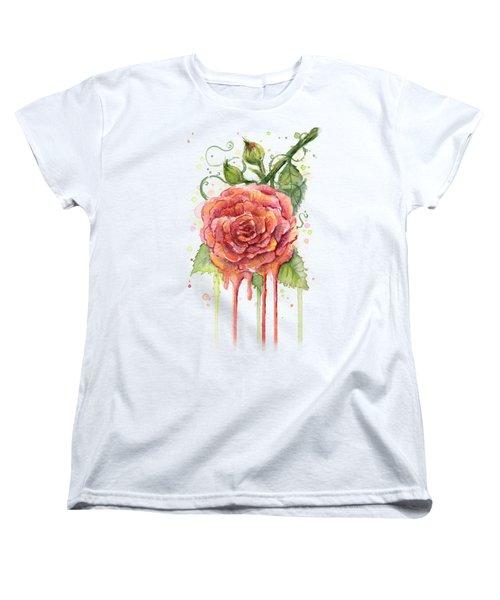 Red Rose Dripping Watercolor  Women's T-Shirt (Standard Cut)