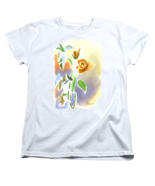 Women's T-Shirt (Standard Cut) featuring the painting Red Roses With Holly In A Vase by Kip DeVore