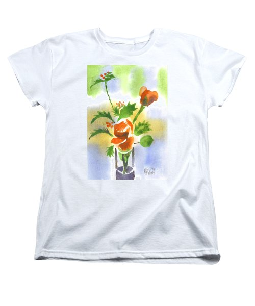 Women's T-Shirt (Standard Cut) featuring the painting Red Roses With Holly by Kip DeVore
