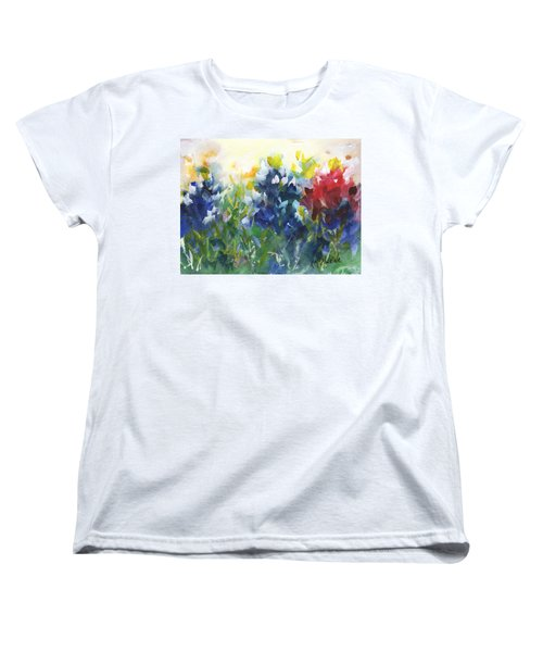 Red White And Bluebonnets Watercolor Painting By Kmcelwaine Women's T-Shirt (Standard Cut) by Kathleen McElwaine