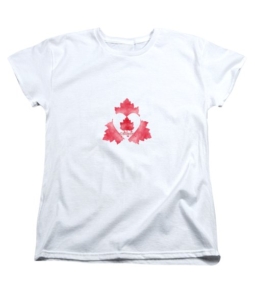 Red White And Canadian Women's T-Shirt (Standard Cut) by Kathleen Sartoris