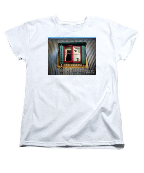 Women's T-Shirt (Standard Cut) featuring the photograph Red Windows by Perry Webster