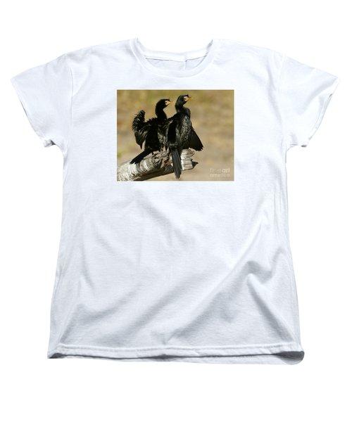 Women's T-Shirt (Standard Cut) featuring the photograph Reed Cormorants by Myrna Bradshaw