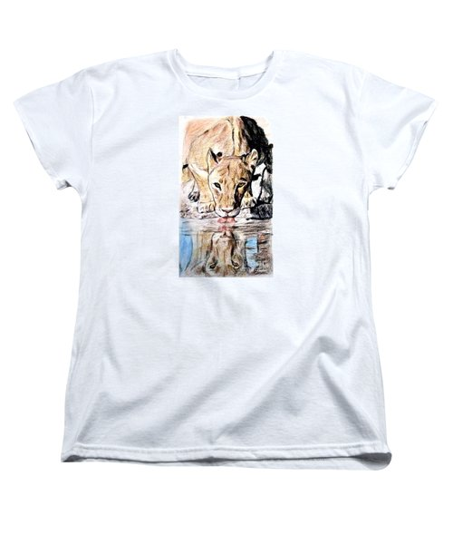 Reflection Of A Lioness Drinking From A Watering Hole Women's T-Shirt (Standard Cut) by Jim Fitzpatrick