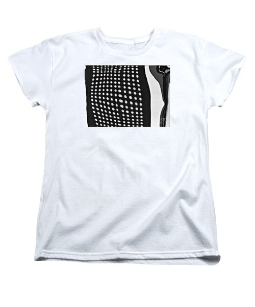 Women's T-Shirt (Standard Cut) featuring the photograph Reflection On 42nd Street 1 Grayscale by Sarah Loft
