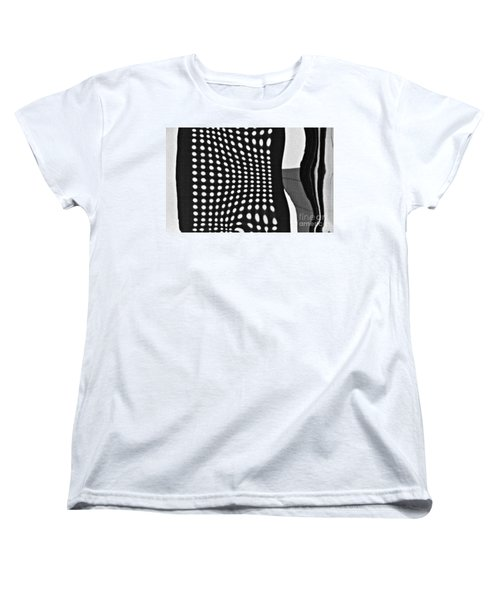 Women's T-Shirt (Standard Cut) featuring the photograph Reflection On 42nd Street 2 Grayscale by Sarah Loft