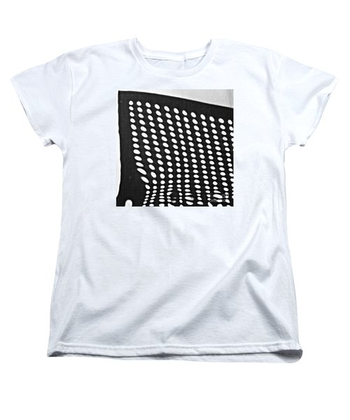 Women's T-Shirt (Standard Cut) featuring the photograph Reflection On 42nd Street 3 Grayscale by Sarah Loft