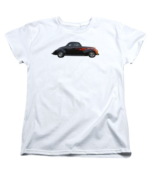 Women's T-Shirt (Standard Cut) featuring the photograph Reflections Of A 1940 Ford Deluxe Hot Rod With Flames by Gill Billington