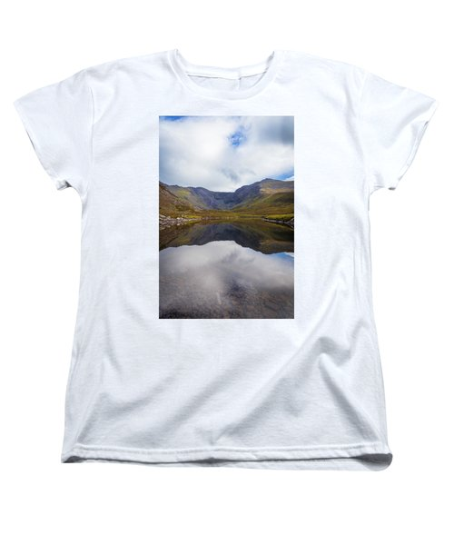 Women's T-Shirt (Standard Cut) featuring the photograph Reflections Of The Macgillycuddy's Reeks In Lough Eagher by Semmick Photo