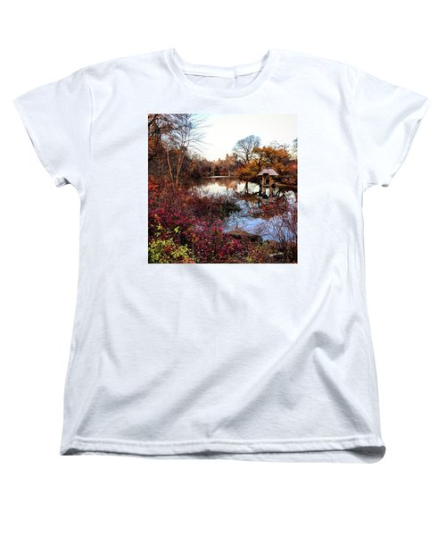 Women's T-Shirt (Standard Cut) featuring the photograph Reflections On A Winter Day - Central Park by Madeline Ellis