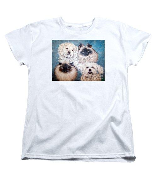 Reigning Cats N Dogs Women's T-Shirt (Standard Cut) by Nancy Cupp