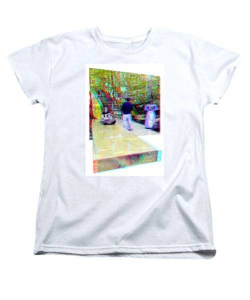 Women's T-Shirt (Standard Cut) featuring the photograph Renaissance Slide - Red-cyan 3d Glasses Required by Brian Wallace