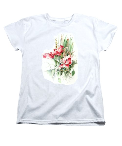 Women's T-Shirt (Standard Cut) featuring the painting Residents Of Green Fields by Anna Ewa Miarczynska