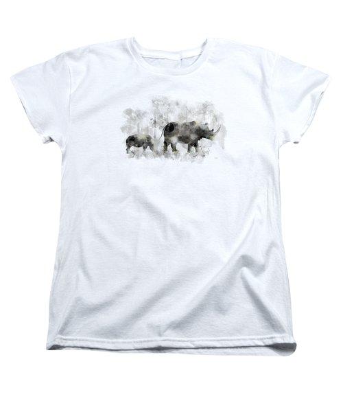 Rhinoceros And Baby Women's T-Shirt (Standard Cut)