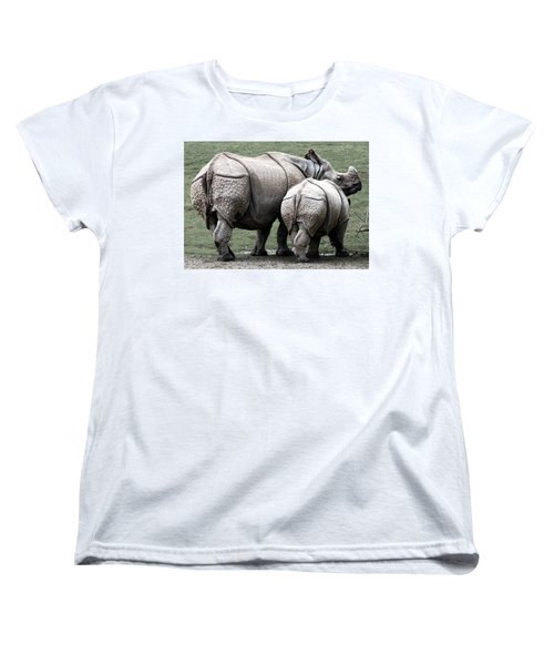Rhinoceros Mother And Calf In Wild Women's T-Shirt (Standard Cut) by Daniel Hagerman
