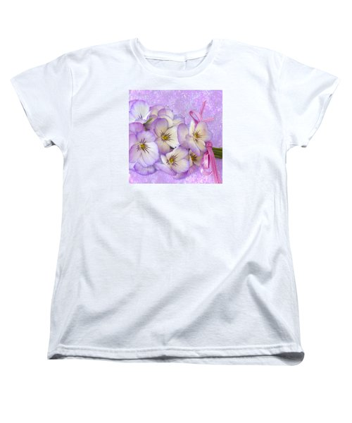Ribboned Pansies  Women's T-Shirt (Standard Cut) by Sandra Foster