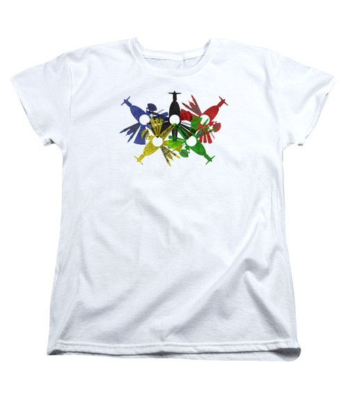 Rio De Janeiro Skyline In Various Colors Women's T-Shirt (Standard Cut) by Michal Boubin