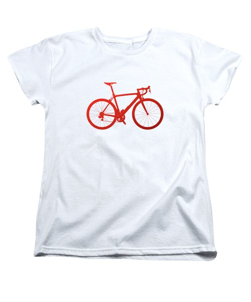 Road Bike Silhouette - Red On White Canvas Women's T-Shirt (Standard Cut) by Serge Averbukh