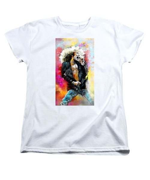 Robert Plant 03 Women's T-Shirt (Standard Cut) by Miki De Goodaboom