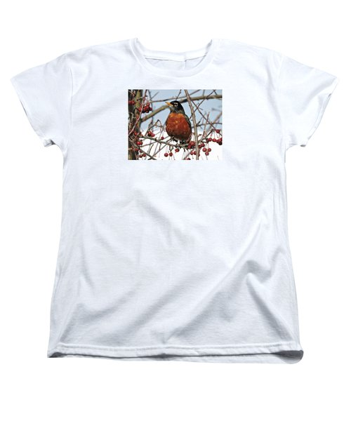 Robin In Winter Women's T-Shirt (Standard Cut) by Marcia Lee Jones