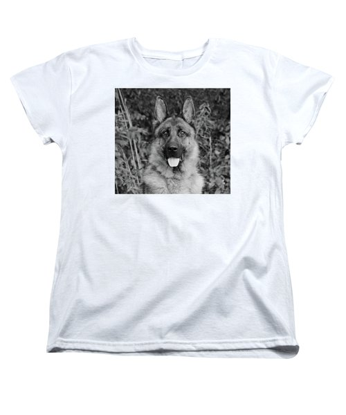 Women's T-Shirt (Standard Cut) featuring the photograph Rocco - Bw by Sandy Keeton