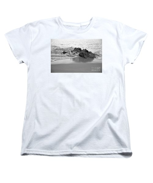 Rock And Waves In Albandeira Beach. Monochrome Women's T-Shirt (Standard Cut) by Angelo DeVal