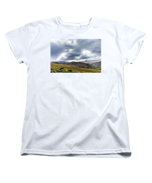 Women's T-Shirt (Standard Cut) featuring the photograph Rock Formation Landscape With Clouds And Sun Rays In Ireland by Semmick Photo