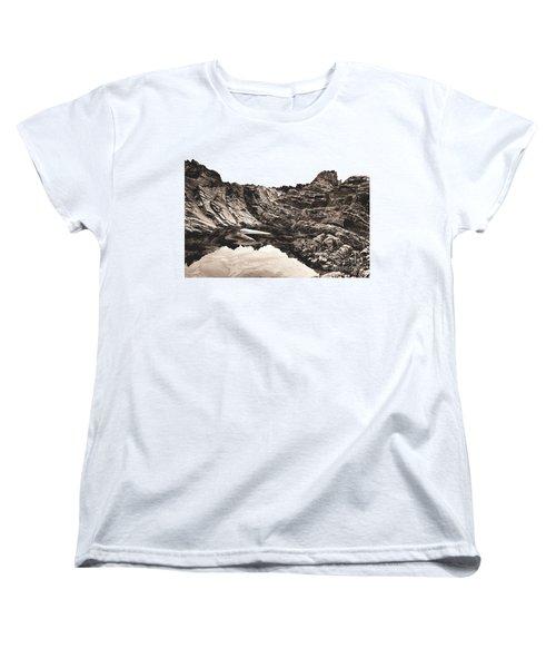 Rock - Sepia Women's T-Shirt (Standard Cut) by Rebecca Harman