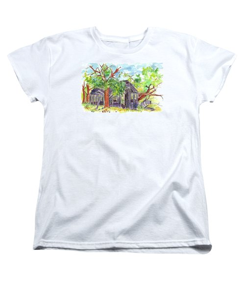 Women's T-Shirt (Standard Cut) featuring the painting Rockland Cabin by Cathie Richardson