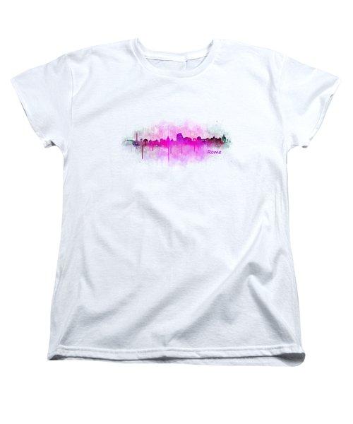 Rome City Skyline Hq V05 Pink Women's T-Shirt (Standard Cut) by HQ Photo