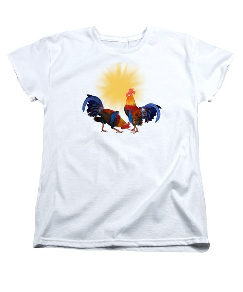 Roosters And Sun Women's T-Shirt (Standard Cut) by Ericamaxine Price