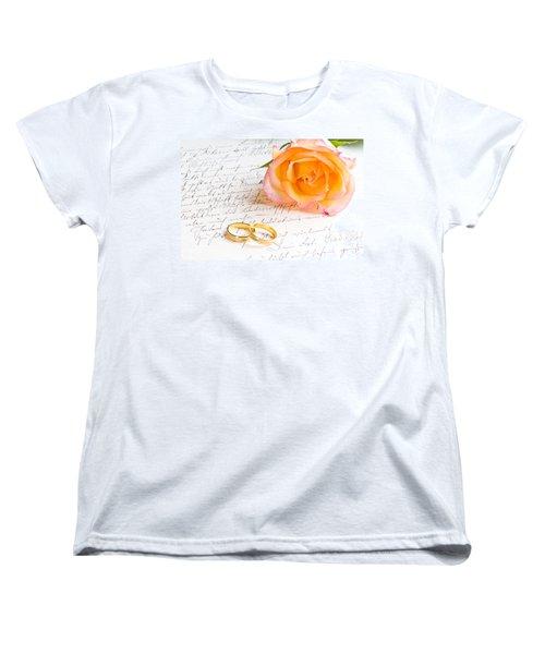 Rose And Two Rings Over Handwritten Letter Women's T-Shirt (Standard Cut) by Ulrich Schade