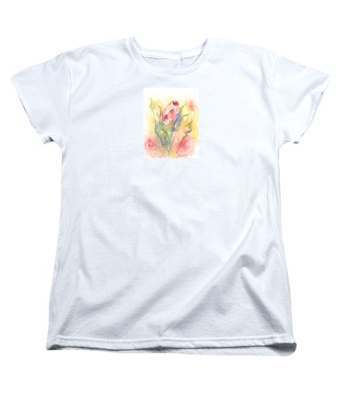 Women's T-Shirt (Standard Cut) featuring the painting Rose Garden One by Elizabeth Lock